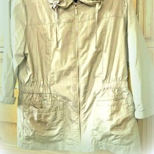 Chicos Women's Size 1 Or Size 8 Zip Jacket Olive